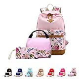 Queenie - Cotton Canvas School Backpack Casual Daypack Shoulder Bag for Teens Girls Boys (8891-3 Pink)