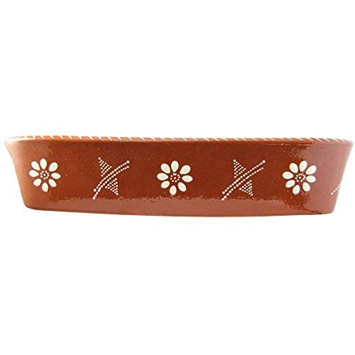 Vintage Portuguese Traditional Clay Terracotta Pottery Roasting Tray Made In Portugal Cazuela (N.3 15 7/8 x 11 x 3 3/8'' Inches)