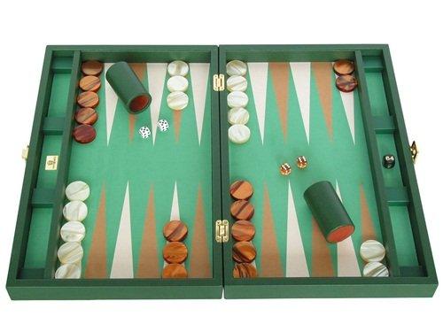 Zaza & Sacci Leather/Microfiber Backgammon Set - Board Game - 20