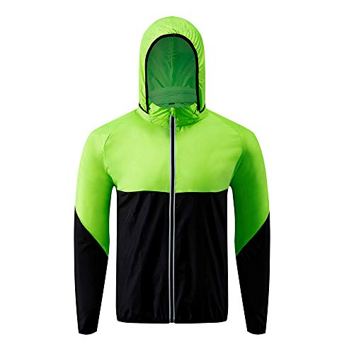- Men Cycling Windbreaker, Lightweight Jacket, Raincoat for Outdoor Sport, Hiking, Fishing, Camping Waterproof Coat with Foldable Hood, Fluorescent Green and Black, M