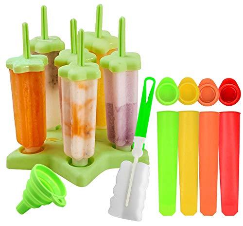 Gyvazla Eisformen, 6 Stück Eisformen Popsicle Formen Set, 4 Stück Silikon Stück Eislutscher Formen, Silikon mit Trichter, Reinigungsbürste