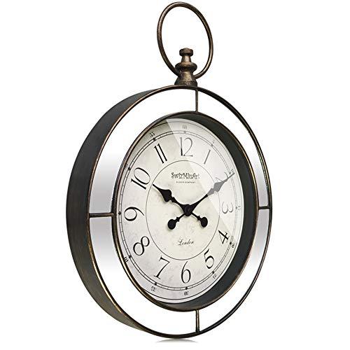 Swizmiuart Vintage Wall Clocks Battery Operated Non Ticking 24 inch,Silent Wall Clock Quartz,Glass Clock Face,Round Mirror Clocks Wall Decor,Large Wall Clock Decorative Living room,Home,Bedroom,Office