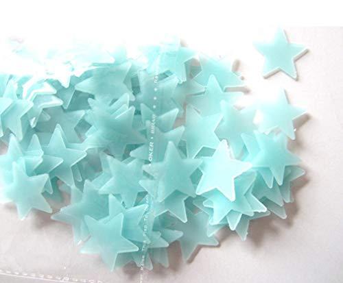 ❤JPJ(TM)❤️_Home decoration 100pcs New Creative Kids Bedroom Fluorescent Glow In The Dark Stars Wall Stickers (Blue)
