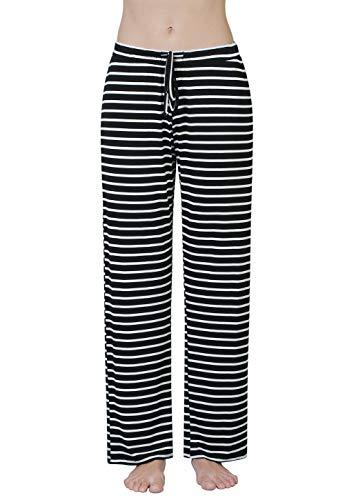 - Air Curvey Womens Pajama Pants Wide Leg Lounge Pants Black Stripe L