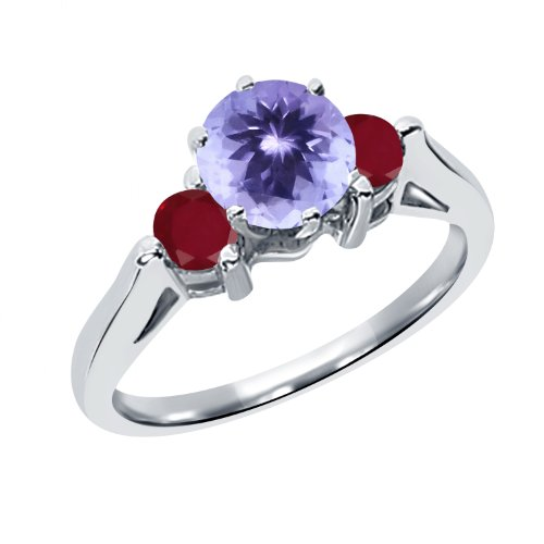 0.70 Ct Round Blue Tanzanite Red Ruby 925 Sterling Silver 3-Stone Ring