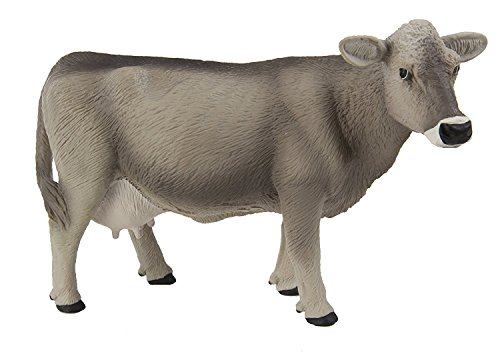 Safari Ltd Safari Farm Collection - Brown Swiss Cow - Realistic Hand Painted Toy Figurine Model - Quality Construction from Safe and BPA Free Materials - For Ages 3 and (Farm Model)