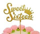 "Crown ""Sweet Sixteen"" Cupcake Topper, Set of 12 Golden Glitter Cupcake Toppers -Cupcake Topper Birthday Decoration"