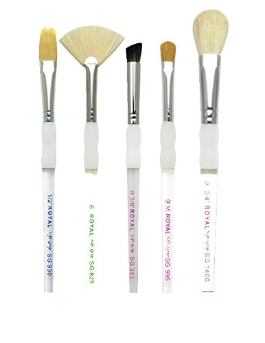 Royal Brush Soft Grip Textured Golden Taklon Fiber Paint Brush Set, Assorted Size, Set of 5,Silver from ROYAL BRUSH