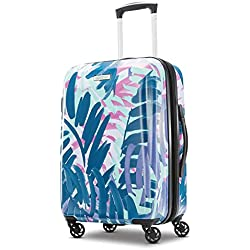 American Tourister Moonlight Hardside Expandable Carry On Luggage with Spinner Wheels, 21 Inch, Palm Trees