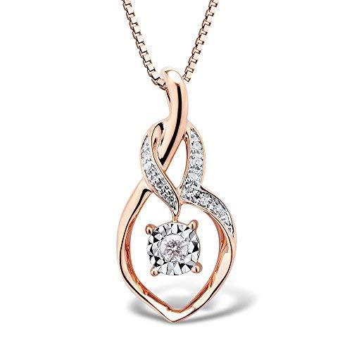 (Diamond Necklace in 10k Rose Gold 1/20 cttw (HI, I2-I3))