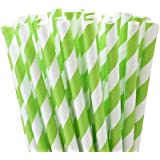 "25 Paper Drinking Straws Lime Green Stripes 7.75"" Retro Vintage Style Durable"