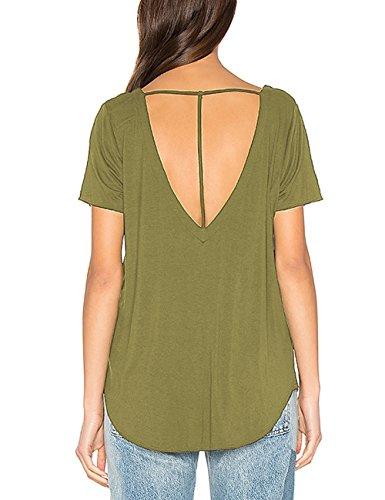 Women's Short Sleeve T-Strap Back Top Shirt Scoop Neck Blouse High Low Hem (Womens Scoop Back Tees)