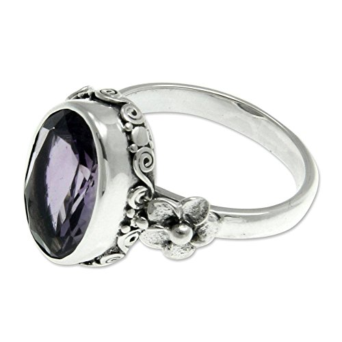 NOVICA Oval Amethyst .925 Sterling Silver Handcrafted Floral Ring, Frangipani Allure'