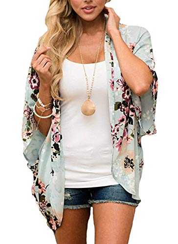 Women's Floral Print Puff Sleeve Kimono Cardigan Loose Cover Up Casual Blouse Tops Green - Top Floral Sleeve Puff