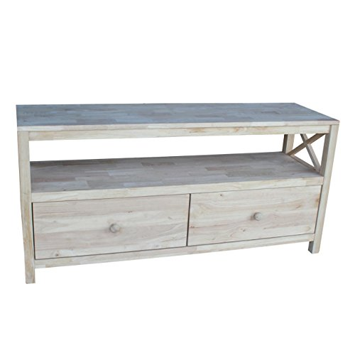 International Concepts Unfinished Hampton Entertainment/TV Stand with X-Sides, 54-Inch, Unfinished