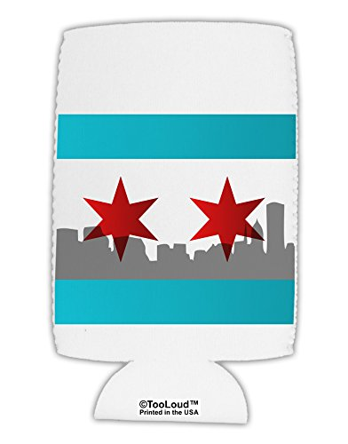 TooLoud Chicago Flag Skyline AOP Collapsible Neoprene Tall Can Insulator All Over Print -