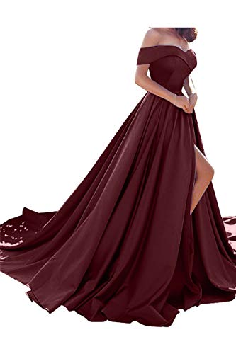 Homdor Split Off Shoulder Prom Evening Dress for Women A-Line Satin Formal Gown Burgundy]()