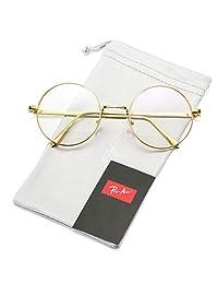 Pro Acme Retro - anteojos de lente redondas de metal transparente sin receta