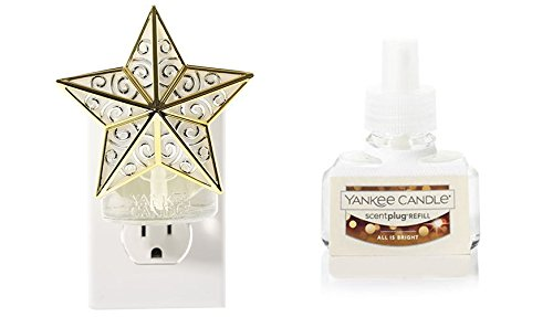 Silver Star Plug (Yankee Candle Gold & Silver Star Scent-Plug Diffuser Base with an ALL IS BRIGHT Home Fragrance Electric Refill)