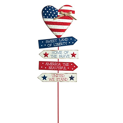 Heart shaped American Sentiment Garden Stakes