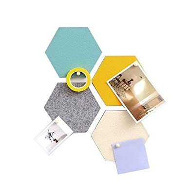 "thehaki Sandwich Hexagon Tile Bulletin Memo Pin Board for Wall, Pastel Tones - 4 Felt Tiles (5.5"" x 5.5"" Each): Home & Kitchen"