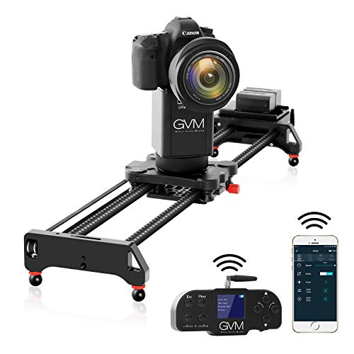 """GVM Camera Slider, 31"""" 2-Axis Carbon Fiber Motorized Slider Track Dolly Rail with APP Control and Wireless Controller, 360 Degree Panoramic Shooting and Time-Lapse Photography for Most DSLR Cameras"""