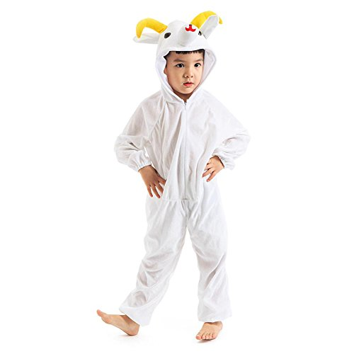Deluxe Child Unisex One-piece Animal Costumes for kids Attach Shoe Covers (7-8 Years, Goat) -
