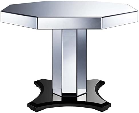 Pulaski Octagonal Smoked Mirrored Dining Table in Silver and Black