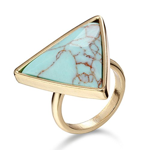 GDSTAR Triangle Shaped Turquoise Wedding Ring Retro Punk Natural Stone Gold PlatedStyle Jewelry - Turquoise Triangles Wedding Band Ring