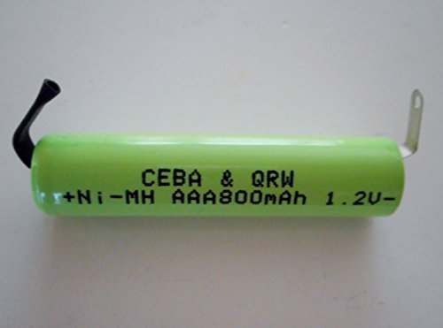 Combo 4 Pcs   Aaa Nimh 800 Mah Flat Top Battery With Solder Tabs For Electric Shavers  Razors And Battery Packs By Qrw Ceba