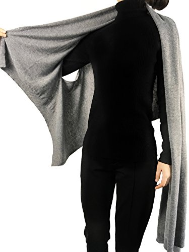 Bruceriver Women's Long Knit Wool Multi Style Functional Scarf Poncho Topper Evening Dress (Light Gray)