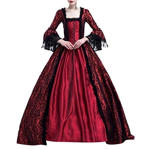 Women Gothic Victorian Lolita Dresses Lace Steampunk Maxi Medieval Renaissance Vampire Halloween Costumes Ball Gown (S, Wine)
