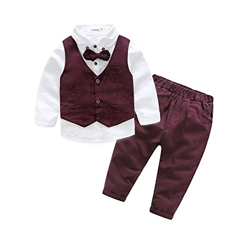 Boys 3Pcs Clothing Sets Cotton Long Sleeve Bowtie Shirts +Vest +Pants Casual Suit (4t, Red)