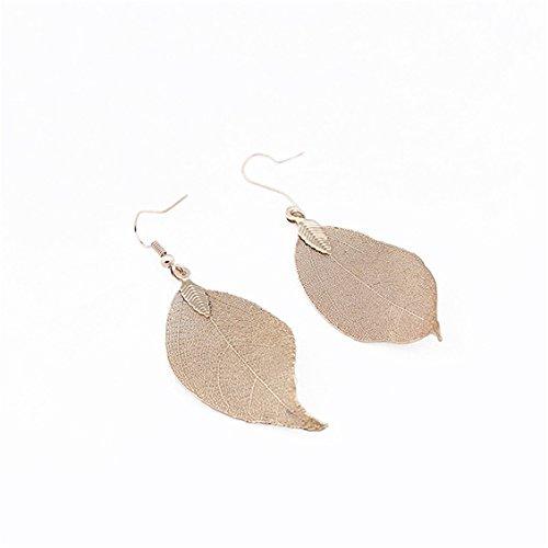 - Dolland Leaf Pendant Necklace Natural Leaf Pendant Long Chain Necklace Girl Gifts,Golden