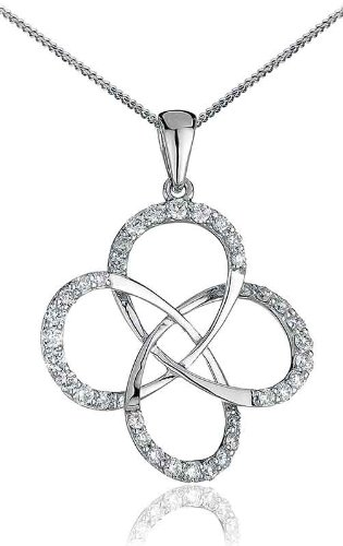 0.35CT Certified G/VS2 Cluster Centre Large Club Diamond Pendant in 18K White Gold