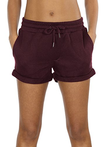 icyzone Workout Lounge Shorts for Women - Athletic Running Jogging Cotton Sweat Shorts (M, Wine)