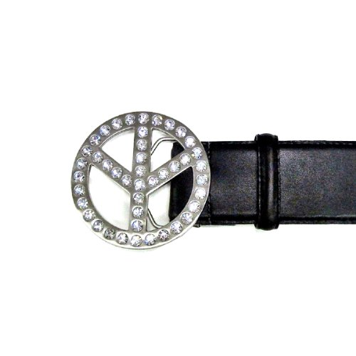 Ladies' Fashion Rhinestone Peace Sign Buckle on Premium Black Leatherette Bel...