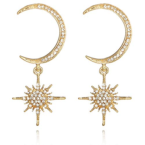 467e01b35 SODIAL Big Luxury Sun Moon Stars Drop Earrings Rhinestone Punk Boho Vintage  Statement Earrings For Women