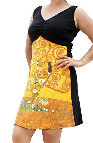 RaanPahMuang Gustav Klimt The Tree Life Black Bust Dress, Medium