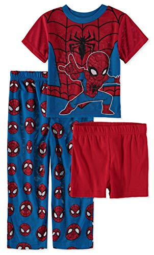 Marvel Boys Spiderman 3 Piece Pajama Set (Red/Blue/Black, 2T) ()