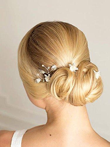 FXmimior Bride Hair Accessories Hair Pins Clip Bobby Pins Vintage Leaf Bridesmaid Headpiece Customised Wedding pack of 3 (silver)