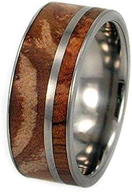 Titanium Pinstripe 8mm Comfort Fit Titanium Wedding Band Buckeye Burl