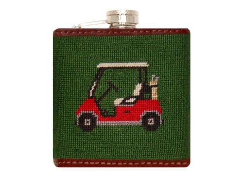 Smathers & Branson Golf Cart Needlepoint Flask - Hunter Green (Flask-28) - Needlepoint Flask