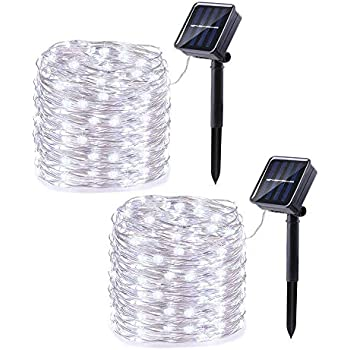 Joomer 2 Pack Solar Christmas Lights, 33ft 100LED 8 Modes Silver Wire Solar String Lights, Waterproof Solar Fairy Lights for Outdoor, Patio, Garden, Gate, Yard, Party, Wedding, Christmas (White)