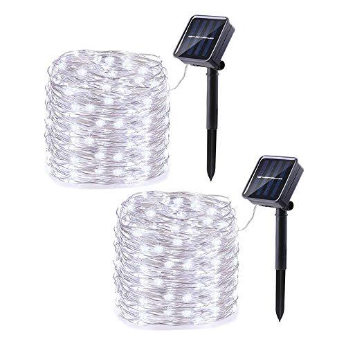 2 Pack Solar Fairy Lights Outdoor, Joomer 33ft/10 m 100 LED 8 Modes Zonne-energie String Lights Waterdichte Tuin Lichten…