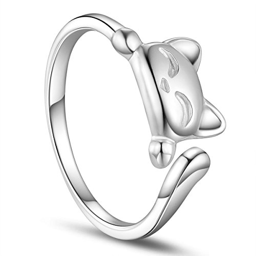 SHEGRACE Womens 925 Sterling Silver Rings, Cute Cat Design Opening Finger Ring, Lovely Kitty Ring (Silver)