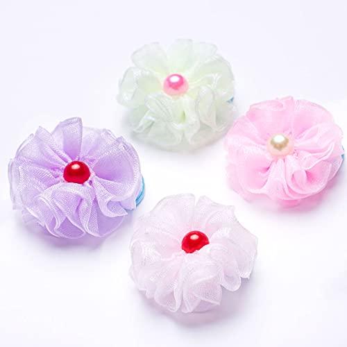 Harsgs Handmade Elastic Hair Ties , Colorful Flower Hair Ties, Hairpins for Girls Hair Ponytail Holder with Flowers, Pack of 4
