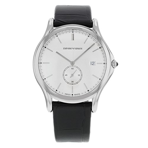 Emporio Armani Swiss Made Men's Swiss Quartz Stainless Steel and Leather Dress Watch, Color Black (Model: ARS1002)