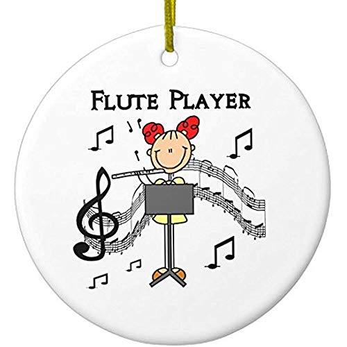 (Cheyan Stick Figure Girl Flute Player Tshirts and Gifts Ceramic Ornament Circle)