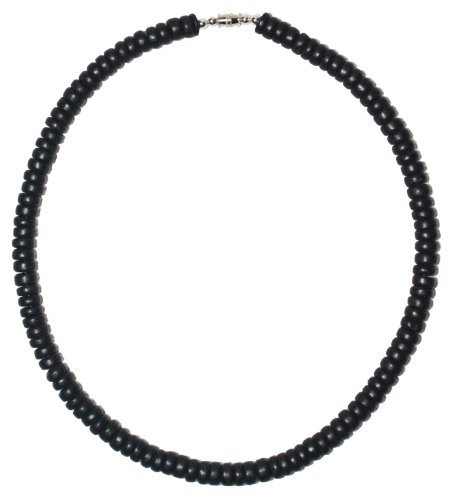 16 inch Black Wood Coco Shell Beads Surfer Necklace - 8mm (5/16